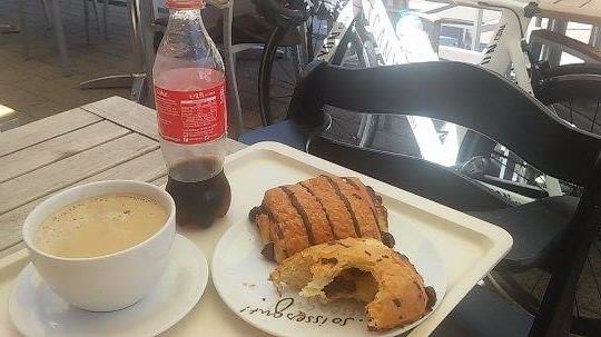 A good cafe stop - hard training needs hard eating!